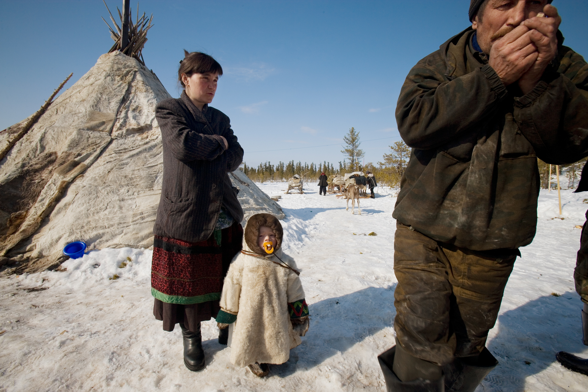 Traditional life for this young family of Nenets is being threatened by booming oil development in the Khanty-Mansiysk region.  Near Saranpaul, Russia