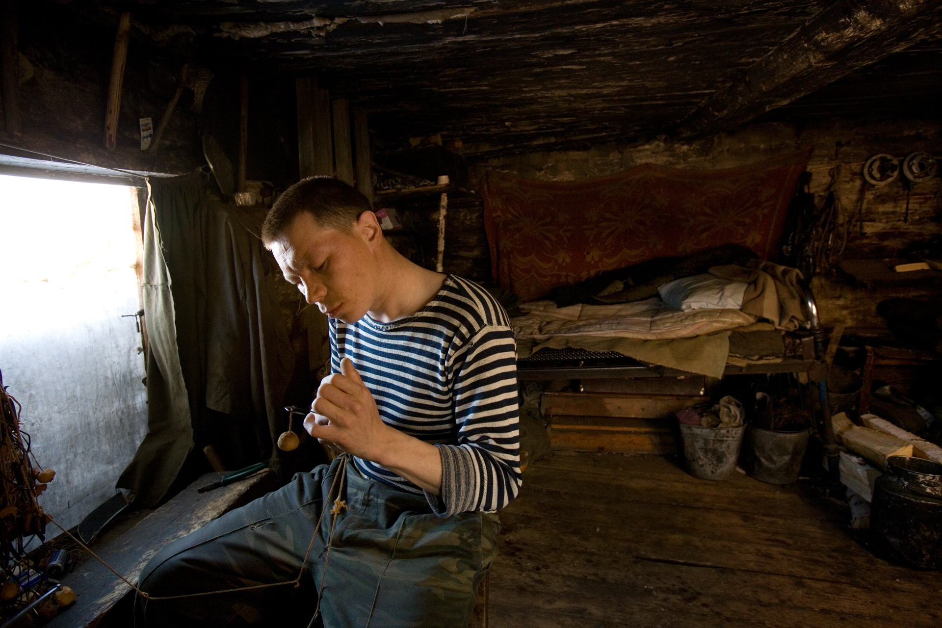 Interior of a young, unemployed Mansi's hut in a settlement in the Khanty-Mansiysk region.  Near Saranpaul, Russia