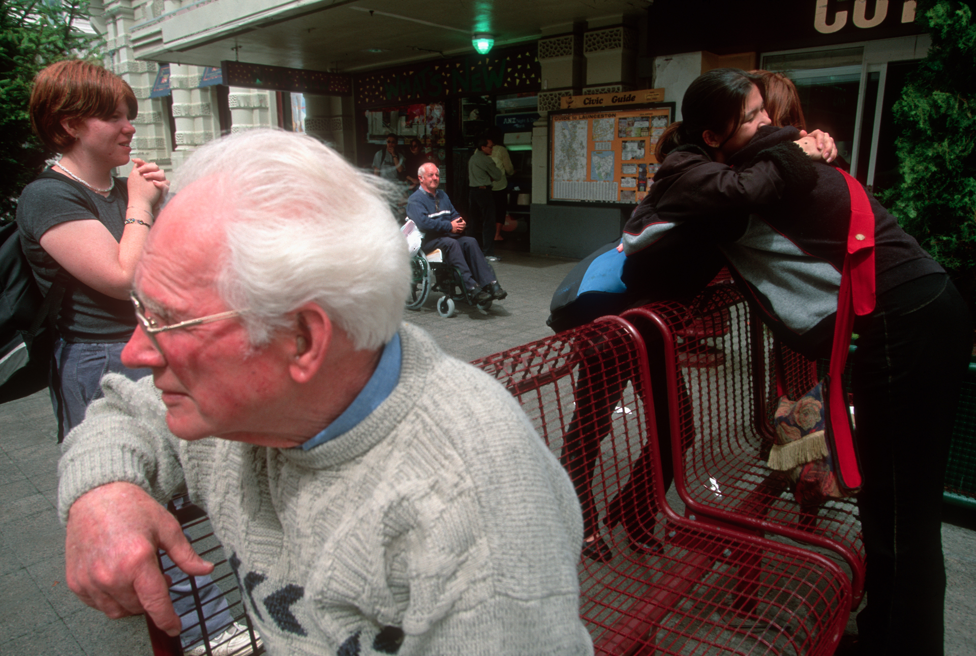 Youngsters and elderly alike hang out in the mall in Launceston, Tasmania's second-oldest city.  Launceston
