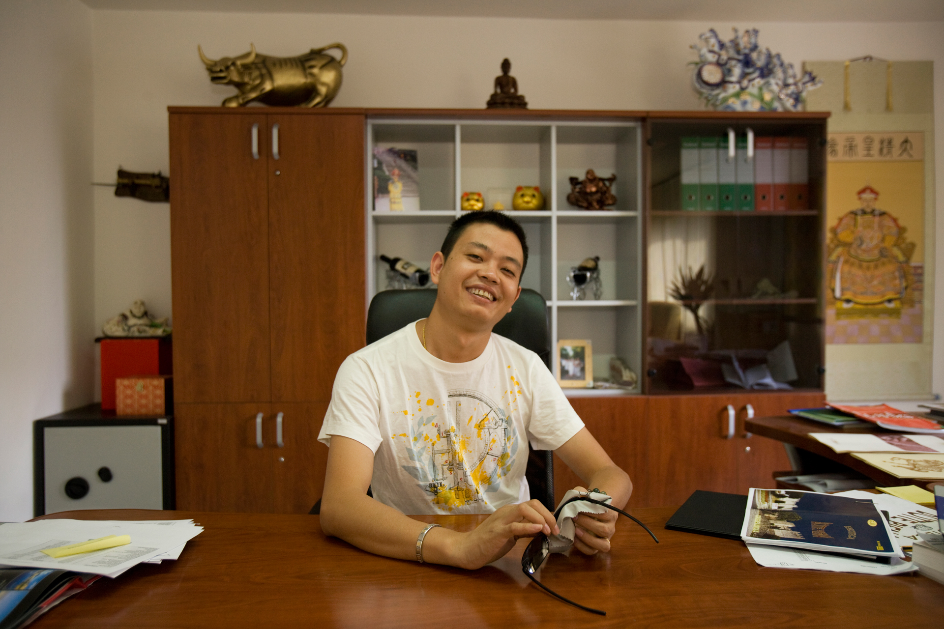 Like many Chinese businessmen in Prato, Hu Bing Liang, has adopted an Italian name, Petro. Initially a worker in a sewing factory, he recently opened Chinatown's first fine wine and liquor store - the largest of its kind with an inventory worth €600.000 ($800,000 US).