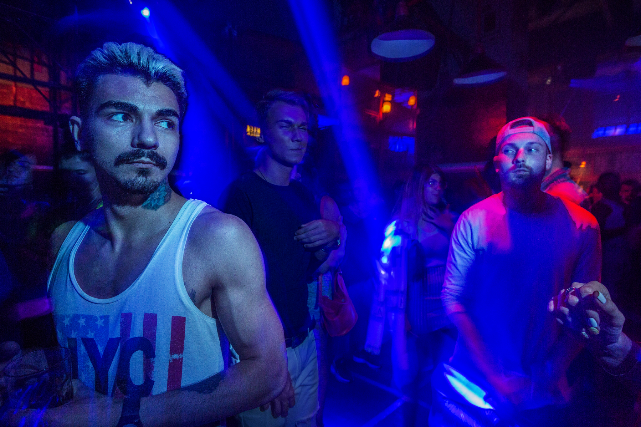 "At Propaganda, a popular club near the Kremlin in Moscow, Sunday is gay night, an event that draws heterosexual men and women as well. After the fall of the Soviet Union, many Russians began to more openly express their sexual orientation and demand for gay rights, but parliament and Putin banned promoting ""nontraditional relations.""  Moscow, Russia"