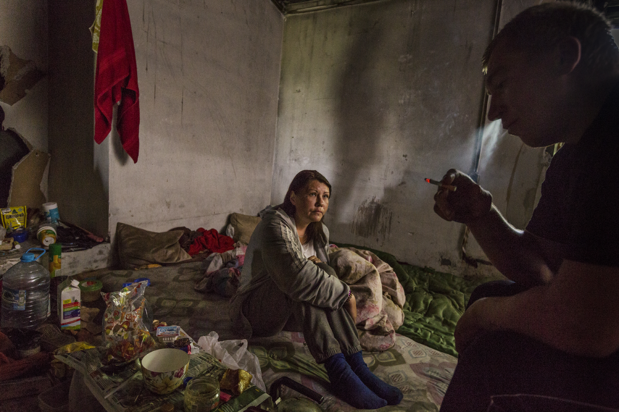 Yevgeniy, 29, has lost his documents and now cannot return to his hometown of Kursk. Homeless, he now lives together with two women in their early thirties in an abandoned train depot. While homelessness amongst Russian youth has declined from the staggering levels in the past, precise numbers are hard to come by.   Moscow, Russia
