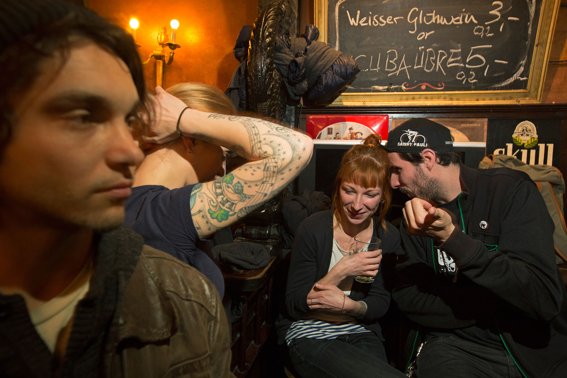The Franken Bar in Kreuzberg has the feel of an old pub with a punk attitude.  Berlin, Germany.