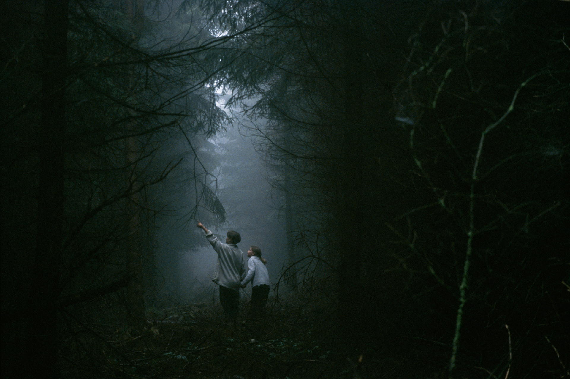 Two youngsters explore the dark forests during a field trip.  Hoher Meisner Mountains, Germany