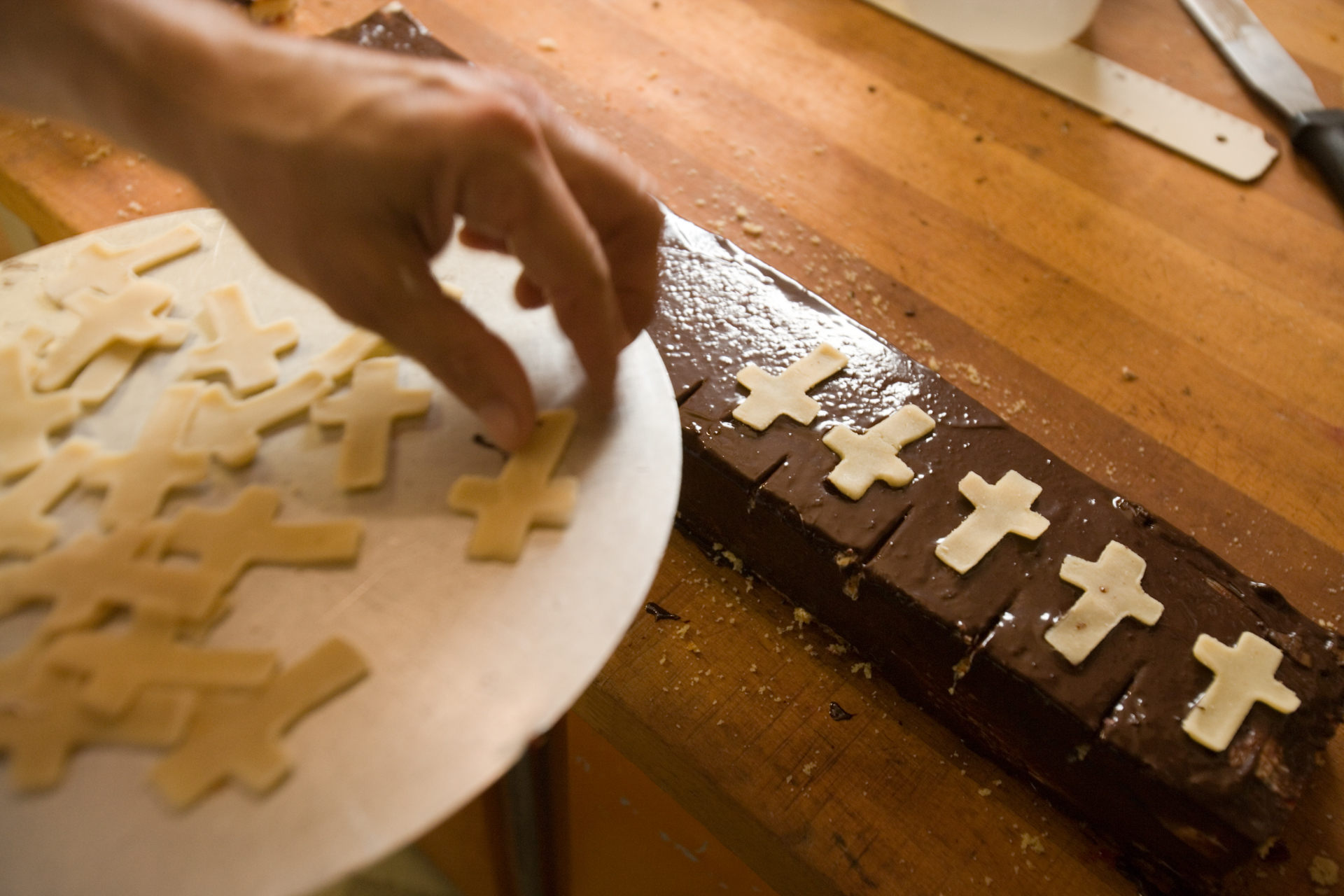 Marktl's bakers were quick to make Vatican bread, miter-shaped cookies, and a chocolate glazed pastry layered with marzipan (a Pope Benedict favorite), topped with a marzipan cross.  Marktl, Germany