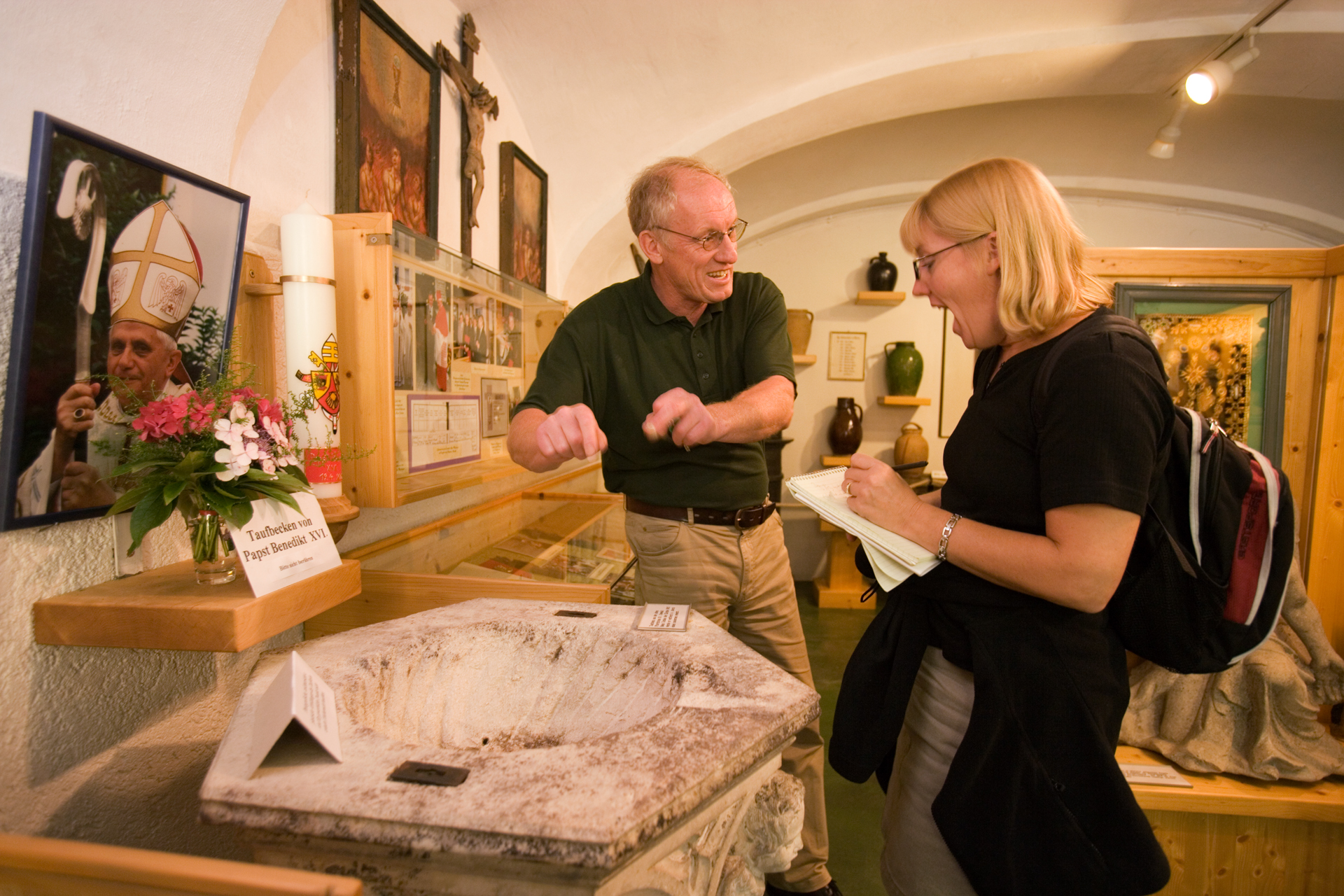 This marble baptismal used to christen Joseph Ratzinger is the main tourist attraction in Marktl's small, yet exquisite local museum.  Marktl, Germany