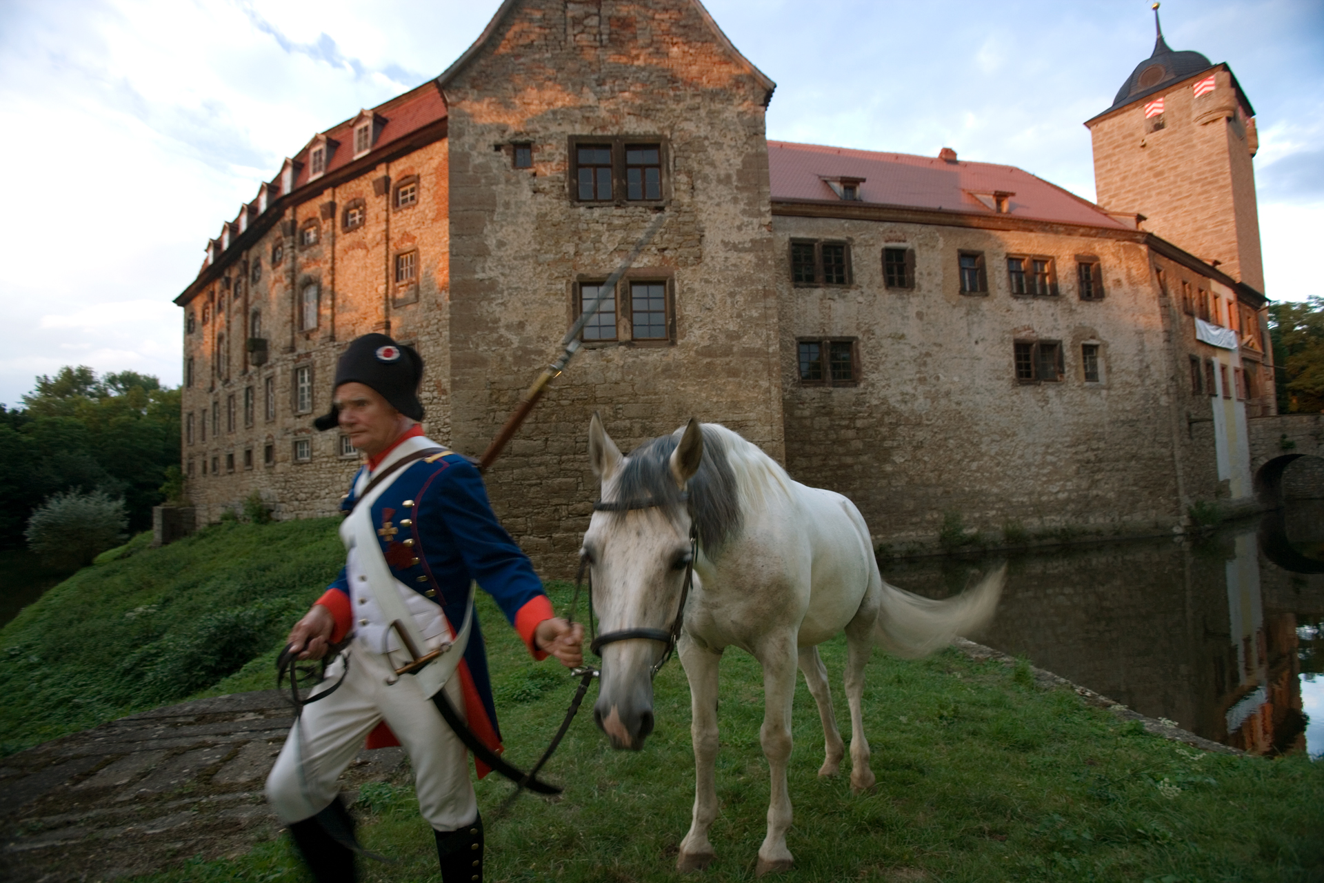 Schloss Kapellendorf, an important strategic fortress during the Battle of Jena and Auerstedt now provides a backdrop for historic re-enactments.  Krippendorf, Germany