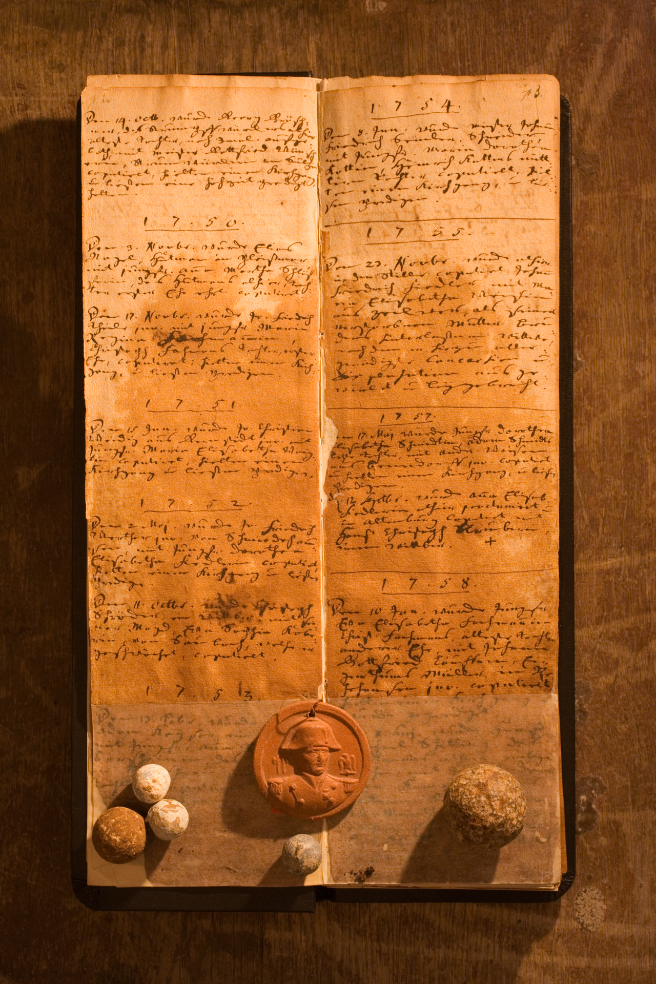 Church ledgers served as makeshift splints for fallen soldiers in the battle of Jena and Auerstedt.  Hassenhausen, Germany