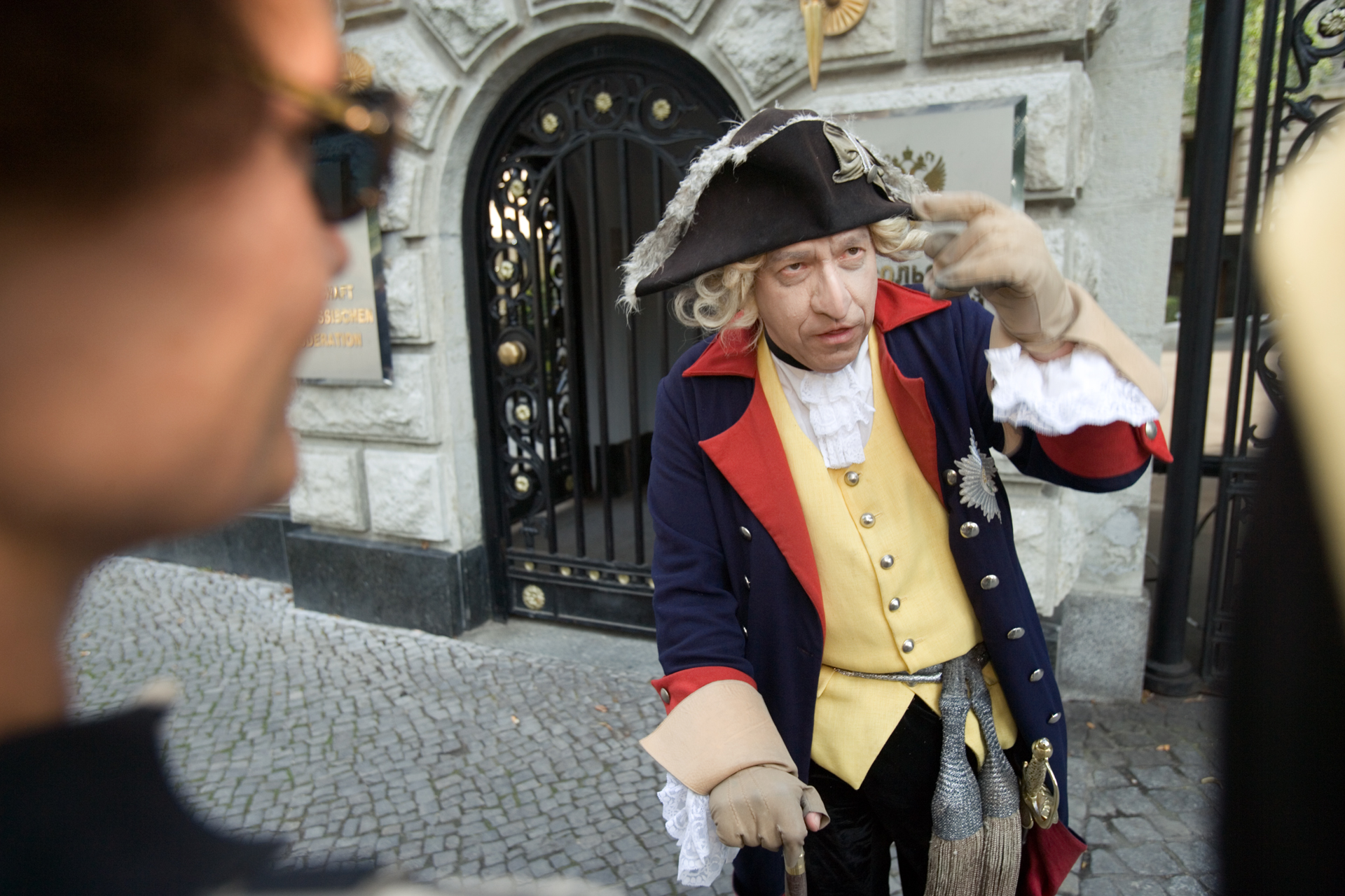 Evoking the ghost of King Friedrich II of Prussia, historian and sociologist Dr. Olaf Kappelt, gives daily walking tours through Berlin's historical center.  Berlin, Germany