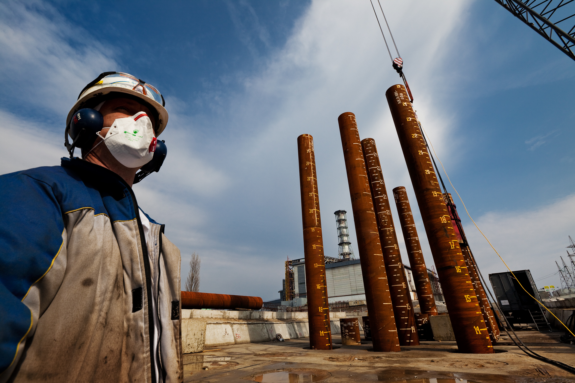Novarka workers building the New Safe Confinement still expose themselves to hazardous levels of radiation.  Chernobyl Nuclear Power Plant, Ukraine