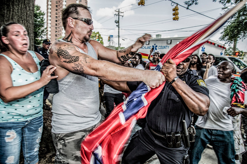 White Supremacist rally for Confederate Flag, South Carolina, 2015 ©Mark Peterson, 2018 W. Eugene Smith Fund Grant Recipient