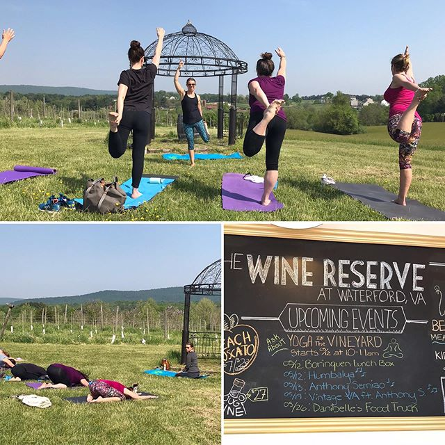 #tbt to last years #yogainthevines ... join me May 18th for lovely day in the Vines @vawinereserve 🤸🏼♀️🥂🌞🤩