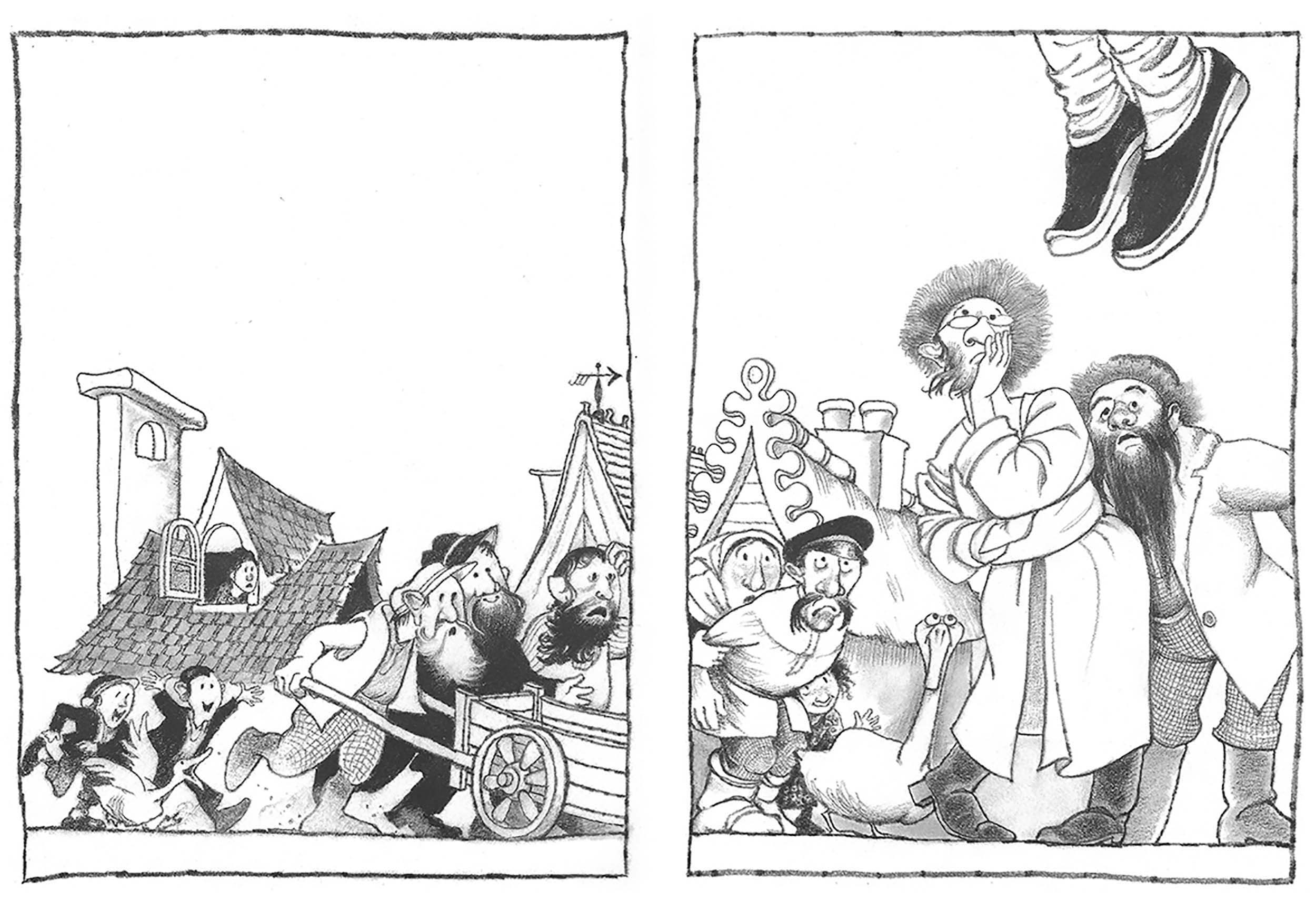 Pencil Illustration diptych From And Twelve Chinese Acrobats by Jane Yolen