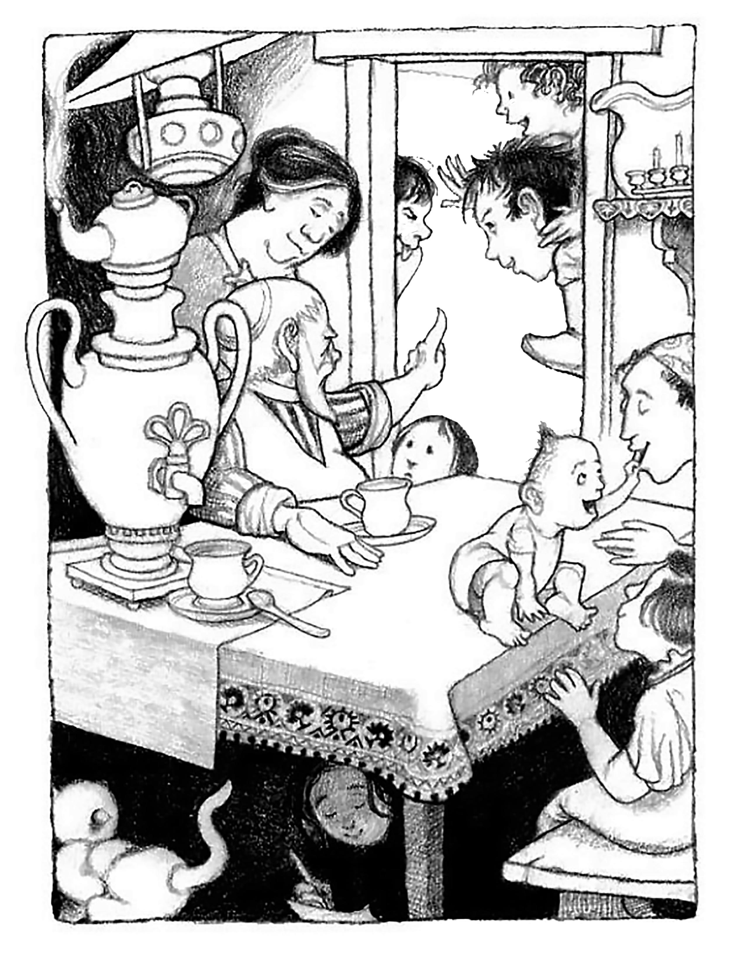 Family Scene Pencil Illustration from And Twelve Chinese Acrobats by Author Jane Yolen