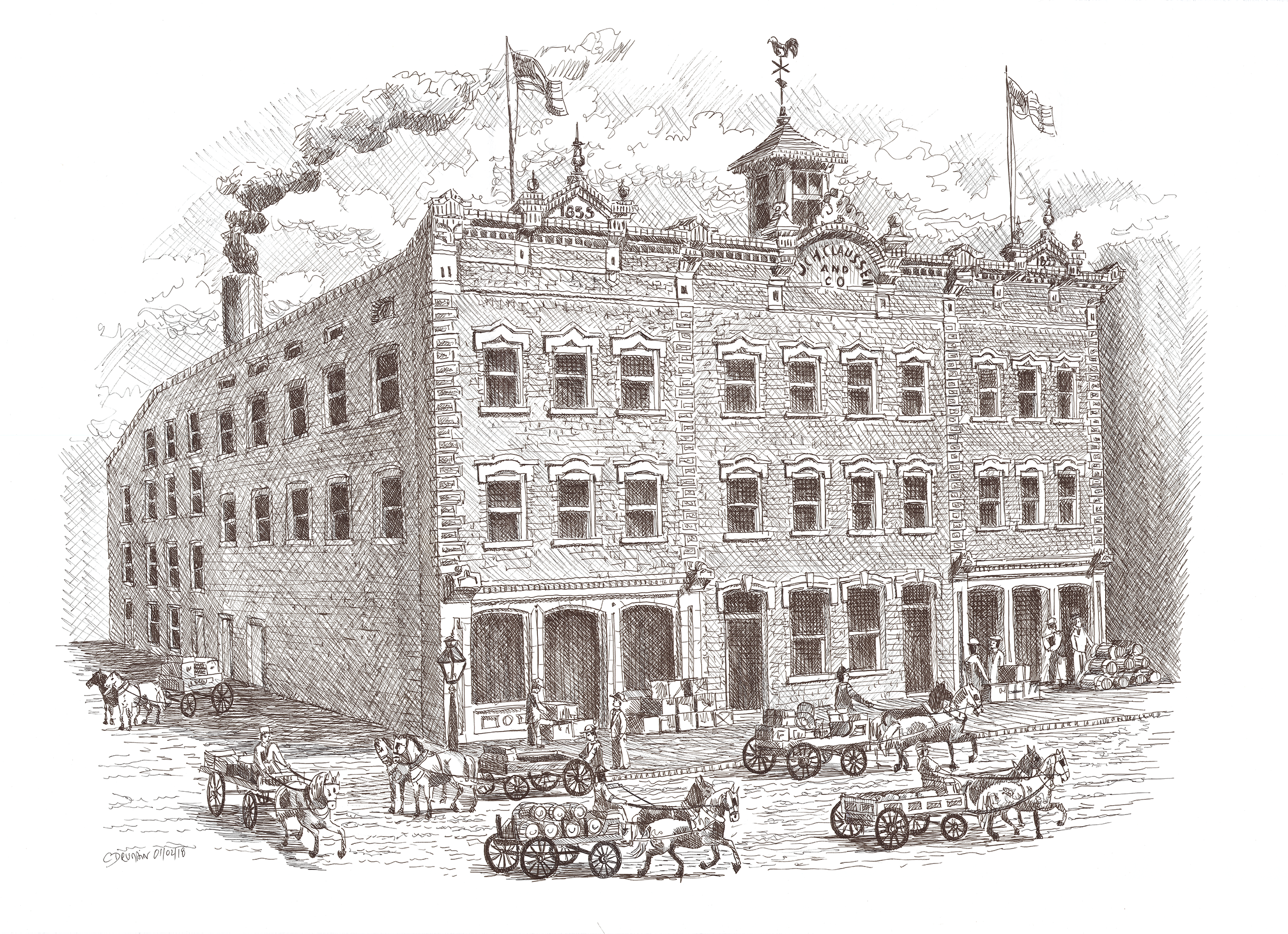 The J.C.H. Claussen building, circa 1856. Illustration by Christophe Drumain.
