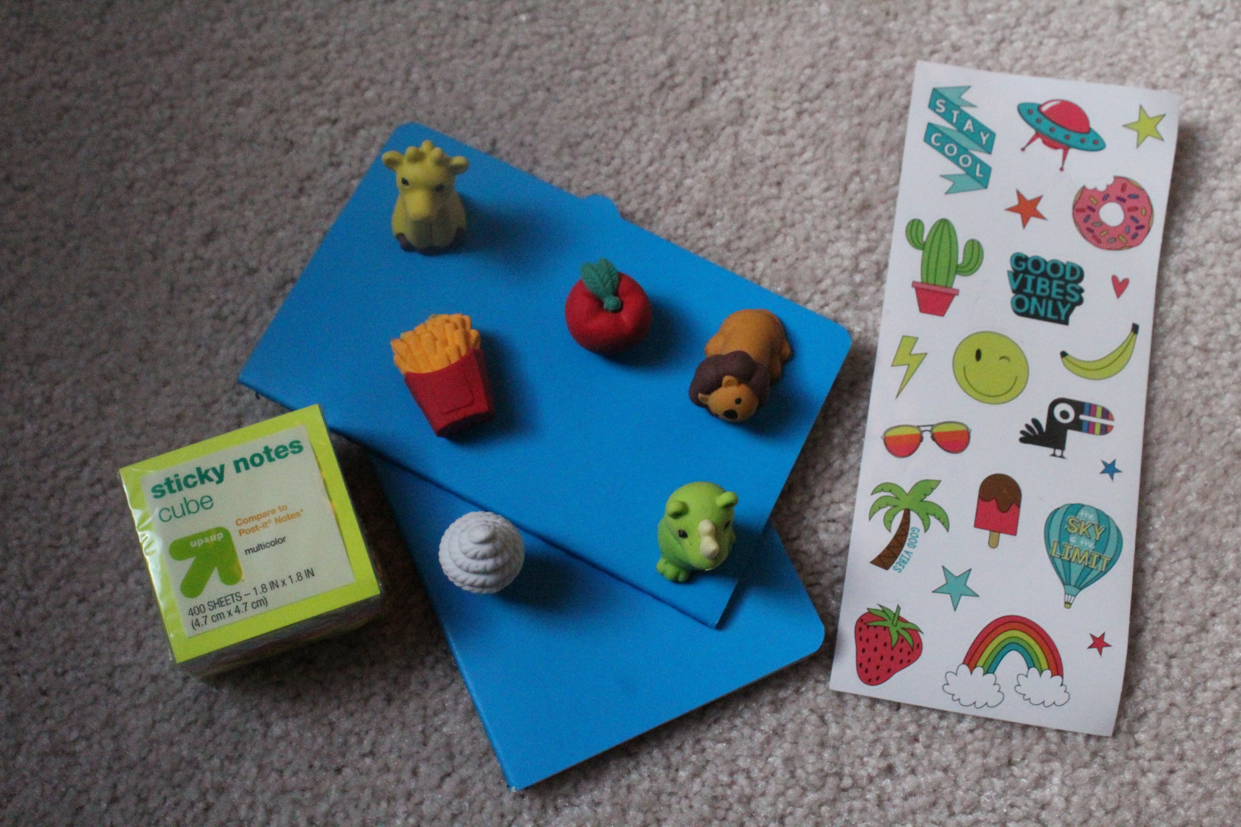 Some very profesh office supplies. You can never have too many erasers shaped like food and animals AMIRIGHT.