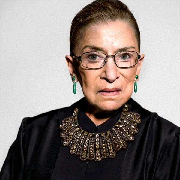 """RBG in her famous """"dissent collar"""" from  dissentpins.com"""