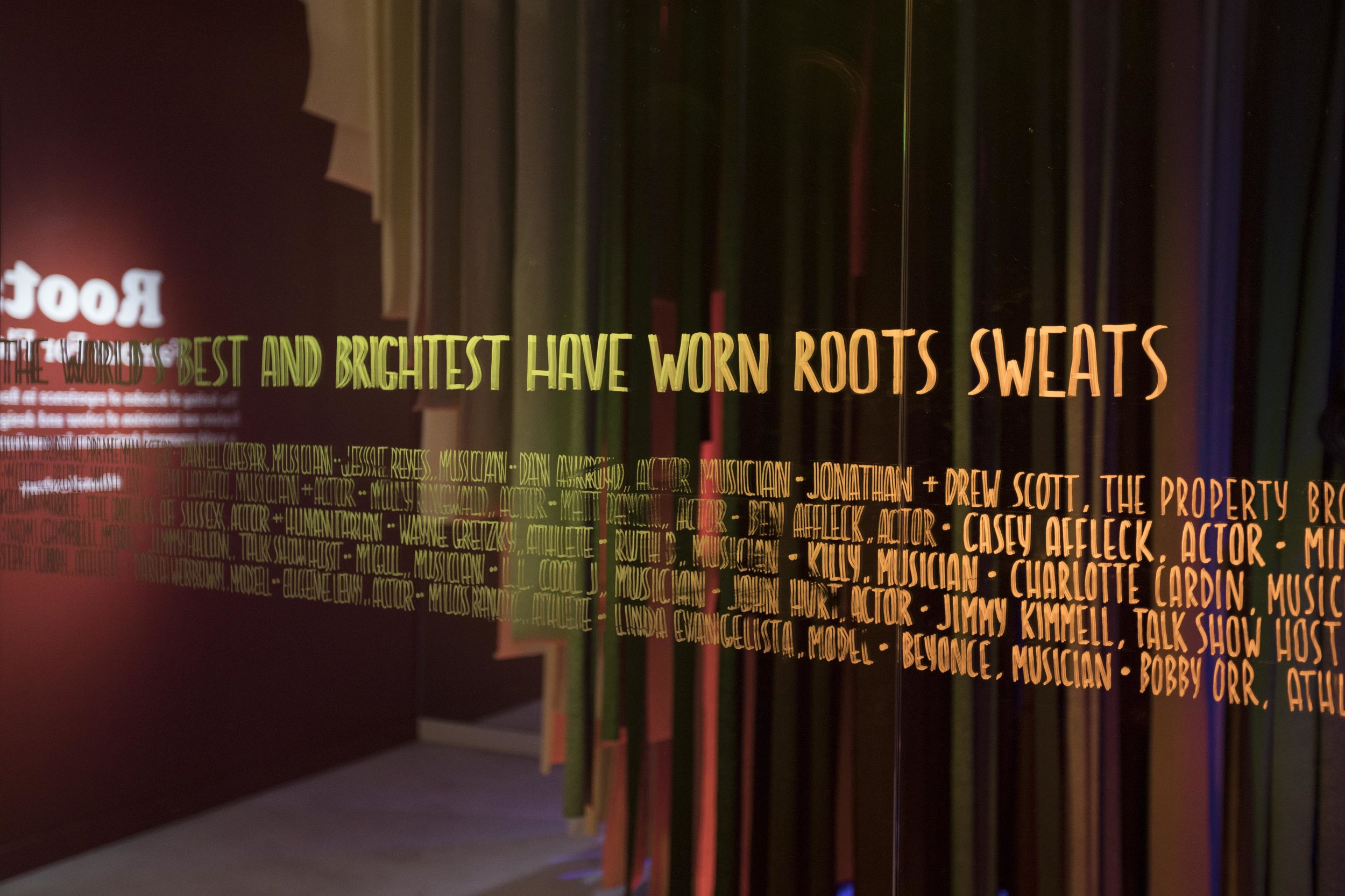 Famous Friends of Roots, in the Famous Fleece installation, at Roots Legends on Newbury.