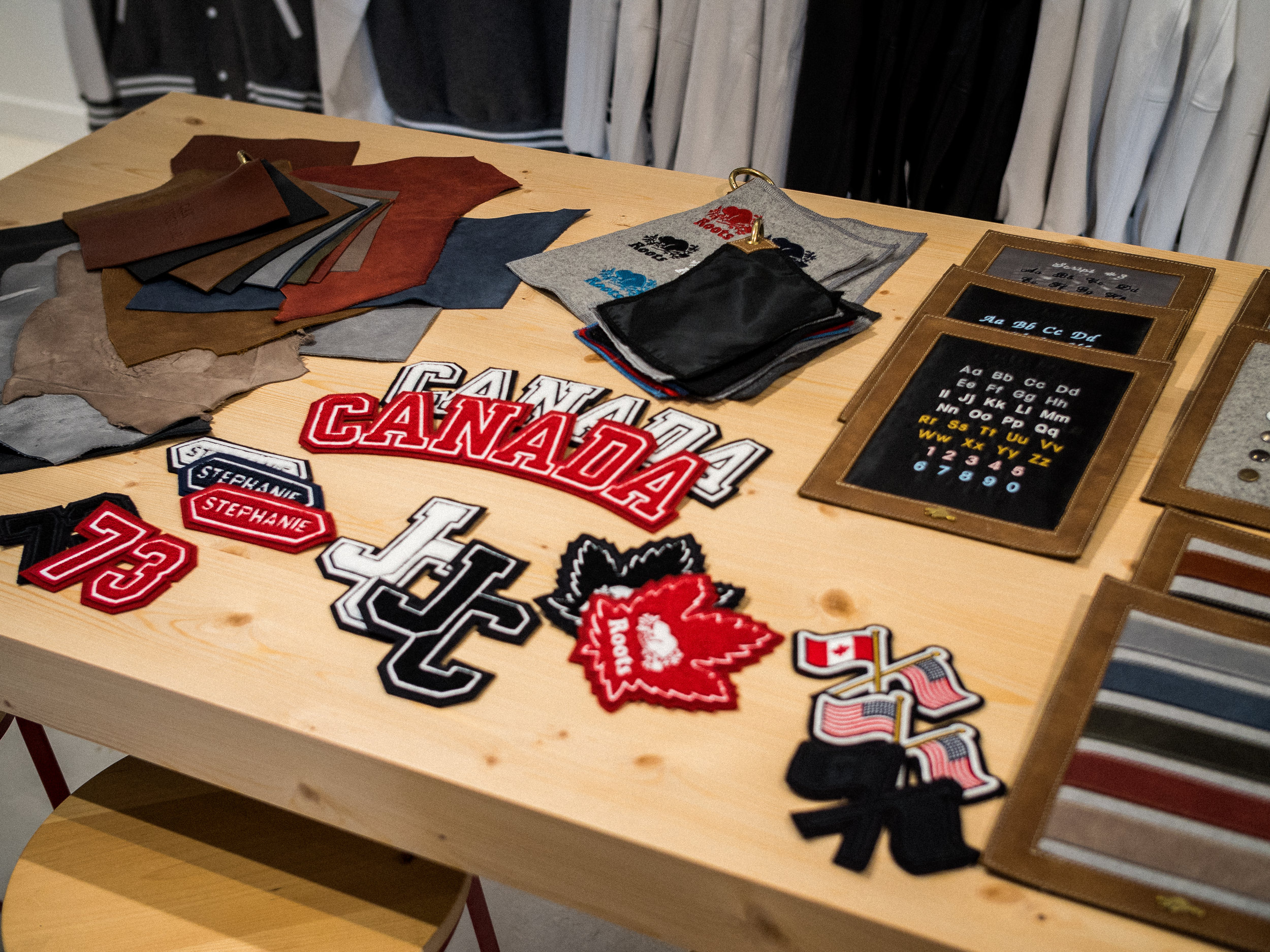 Awards Jacket customization options in the Leather Customization Workshop at Roots Legends on Newbury.