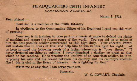 Chaplain letter to the family