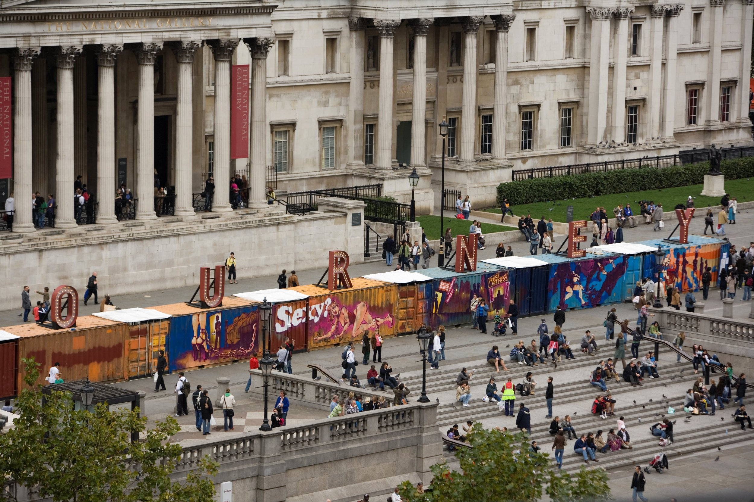 Aerial view of The Journey, Trafalgar Square, London, 2012.