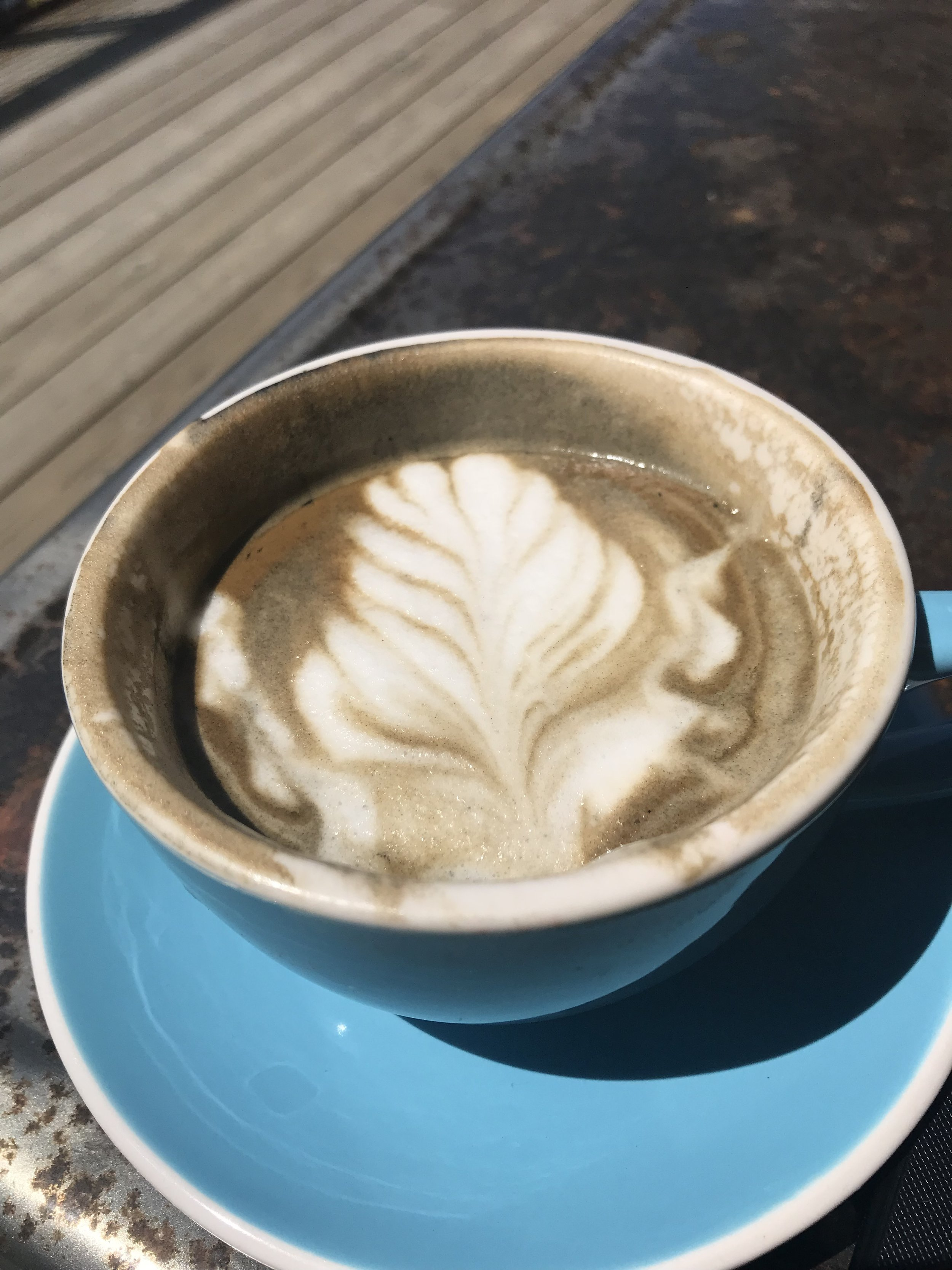 Charcoal Latte with Almond Milk. One of my favorite things. Activated charcoal is amazing for detoxifying the body. Activate charcoal is porous so it adsorbs the toxins in your body. -