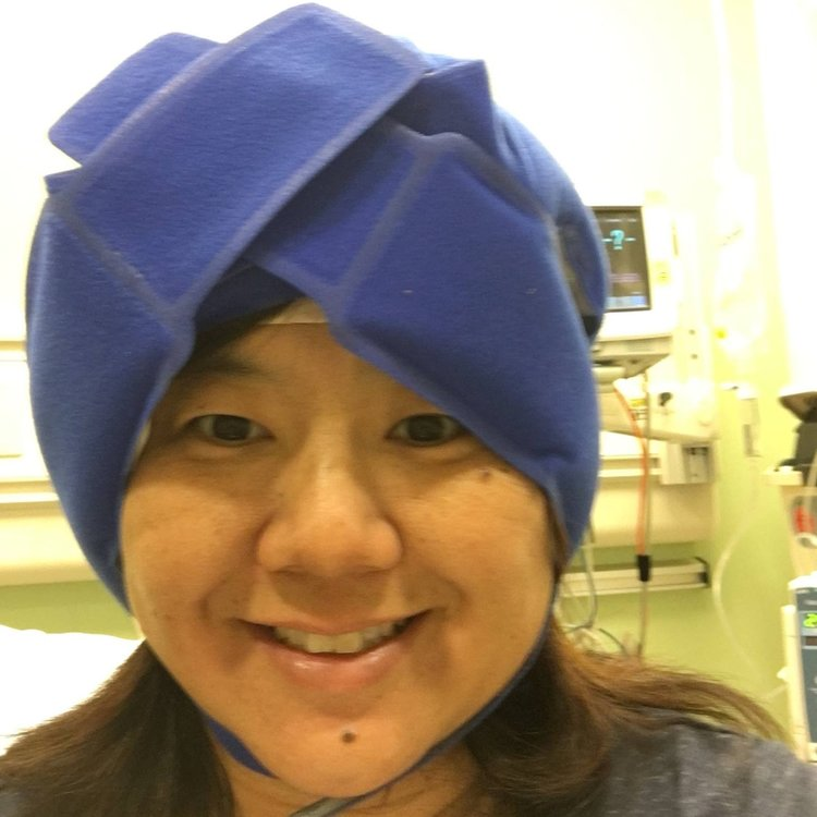 Margaret wearing her cold cap during breast cancer chemotherapy treatment.