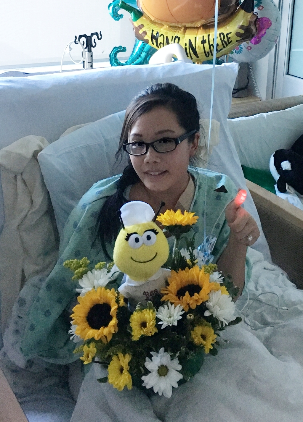Stephanie in the hospital bed during Week 1.