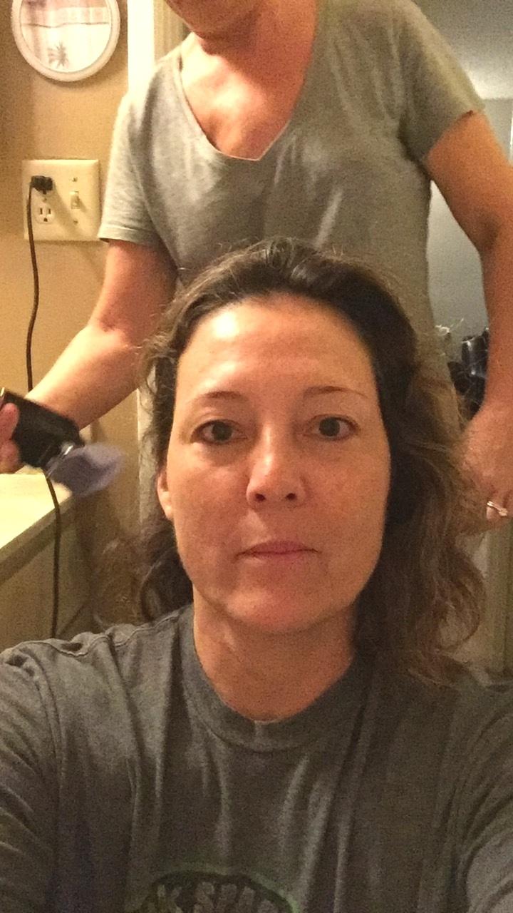 Rachel getting her head shaved
