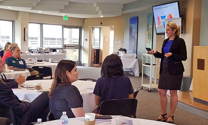 CLC board member Dora Barilla (right) presented a portion of June 11's community health event in Orange County. Additional sessions are offered in Ventura, Valencia and Montebello this August and October.