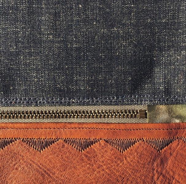 detail of buckskin caravan tote