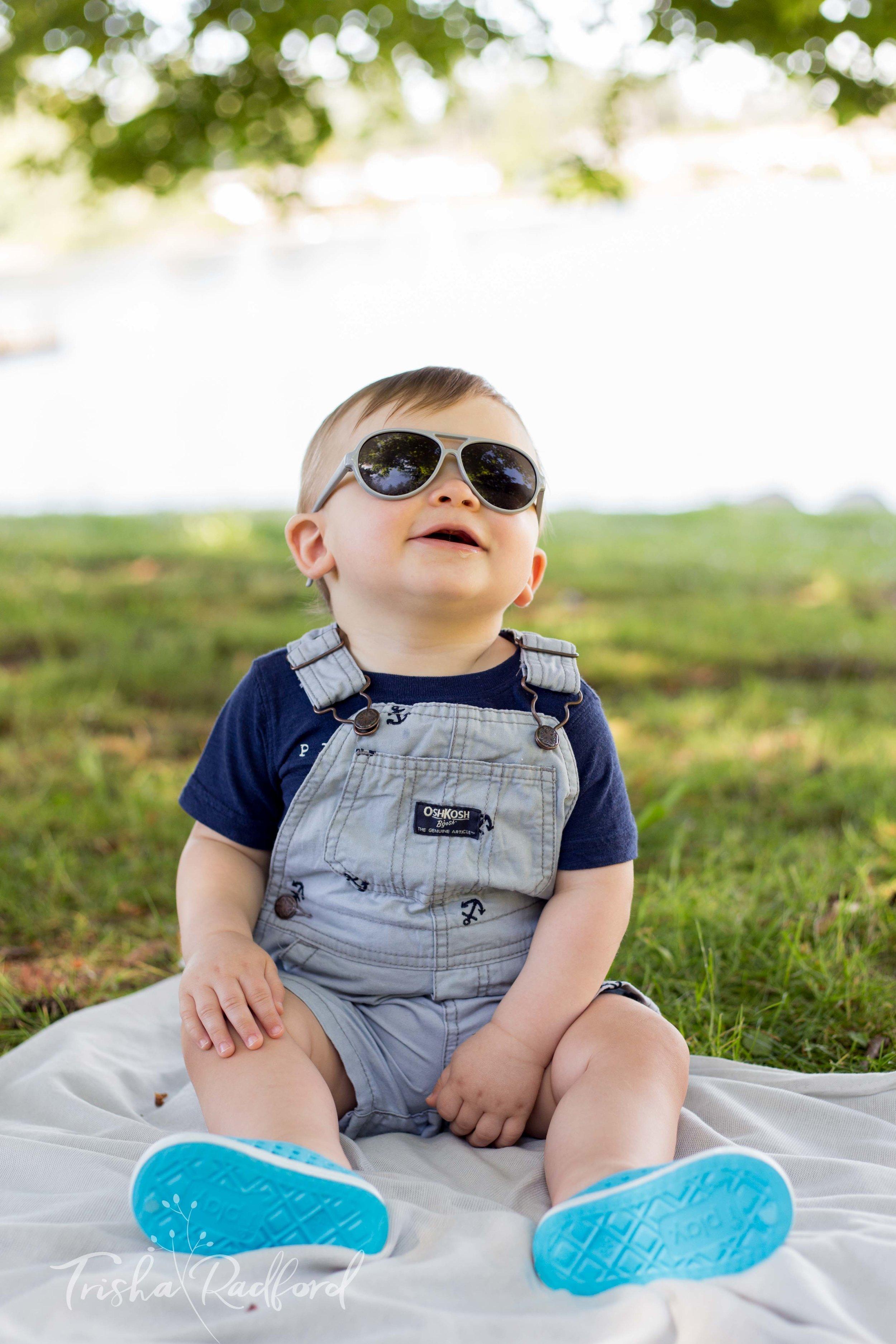 Baby boy wearing sunglasses
