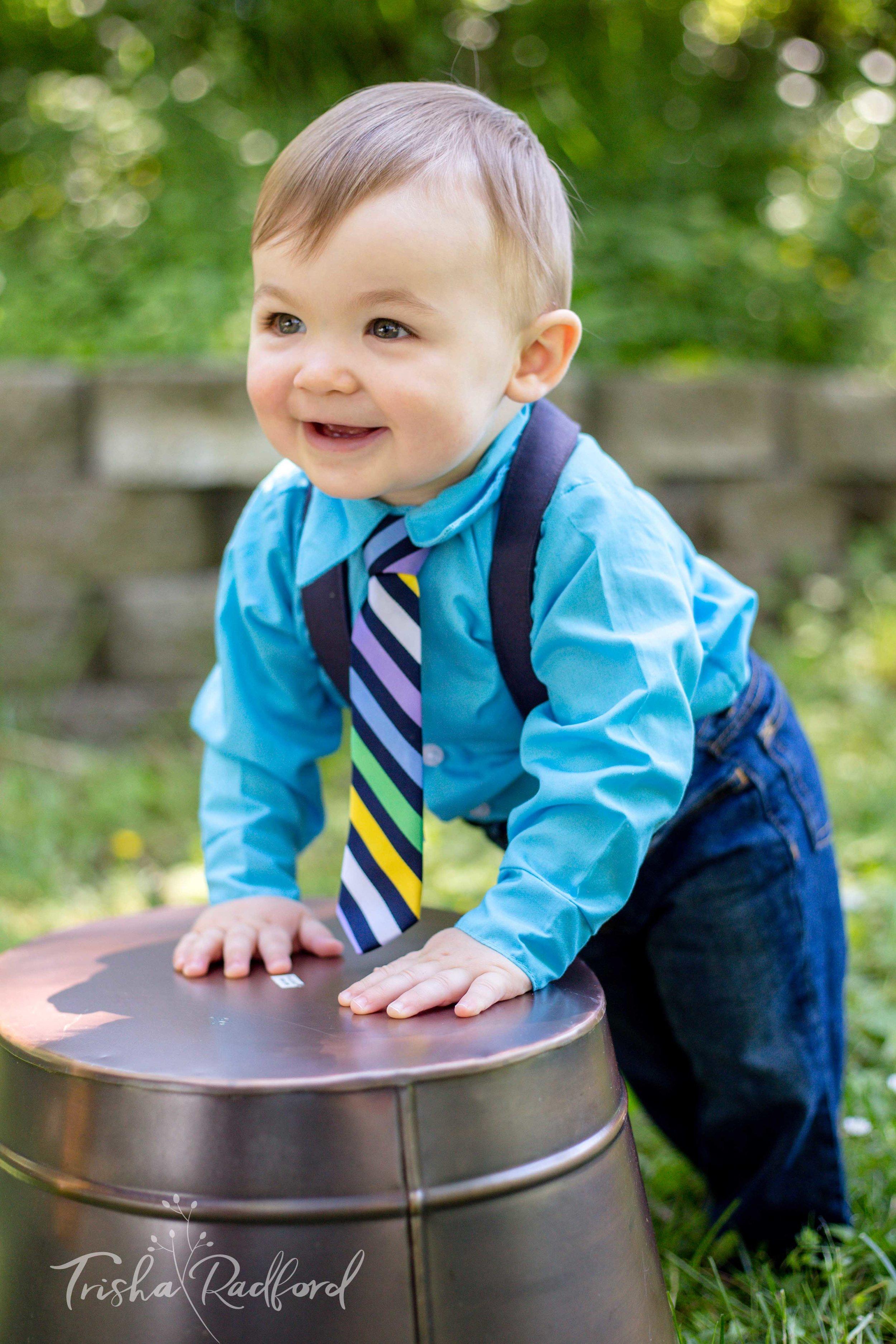 Baby boy wearing a tie