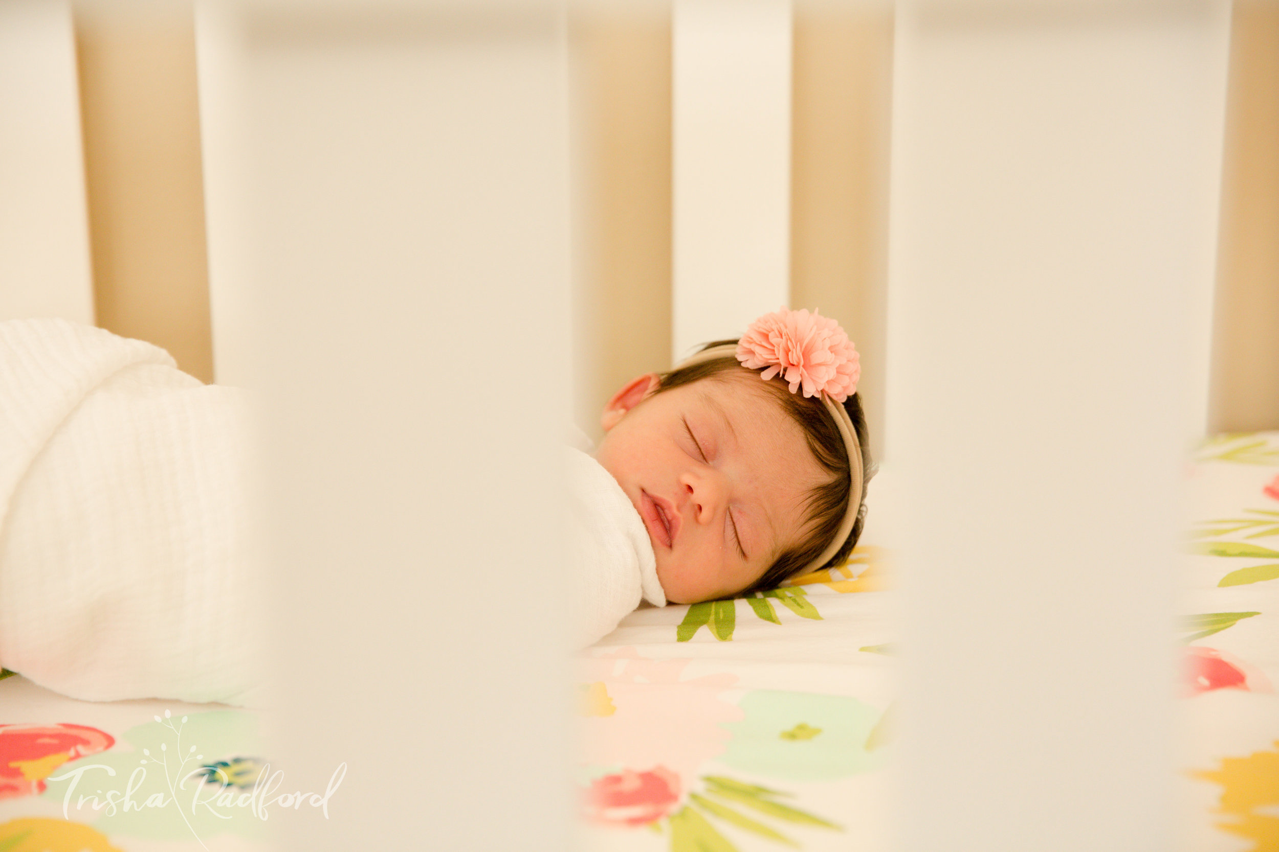 Photo of newborn baby girl in crib