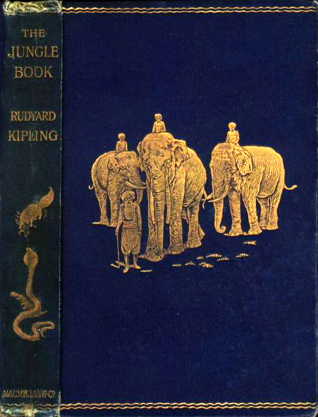 Embossed cover of first edition with artwork by  John Lockwood Kipling