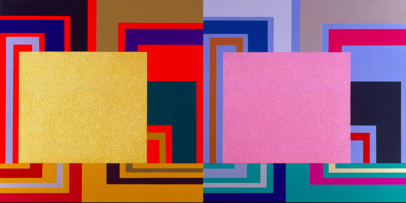 Peter Halley Ancillary Control, 2001 Acrylic, Day-Glo, pearlescent and metallic acrylic, and Roll-a-Tex on canvas 73 × 144 in. Image courtesy Waddinton Custot..png