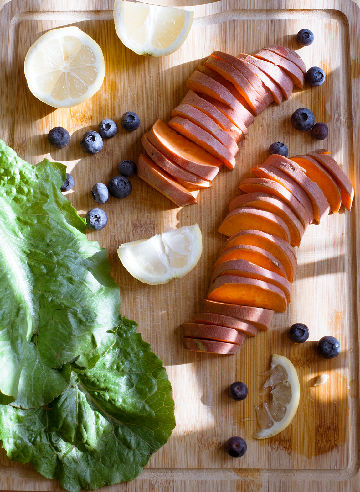 Ingredients for a blueberry sweet potato salad