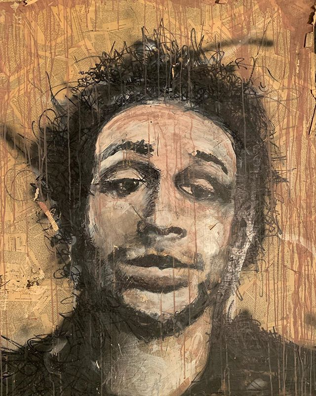 Regress. . . . . .  #josh #painting #collage #art #portrait #design #layers #rip #basement #backbone #aerosol #rich #paint #life