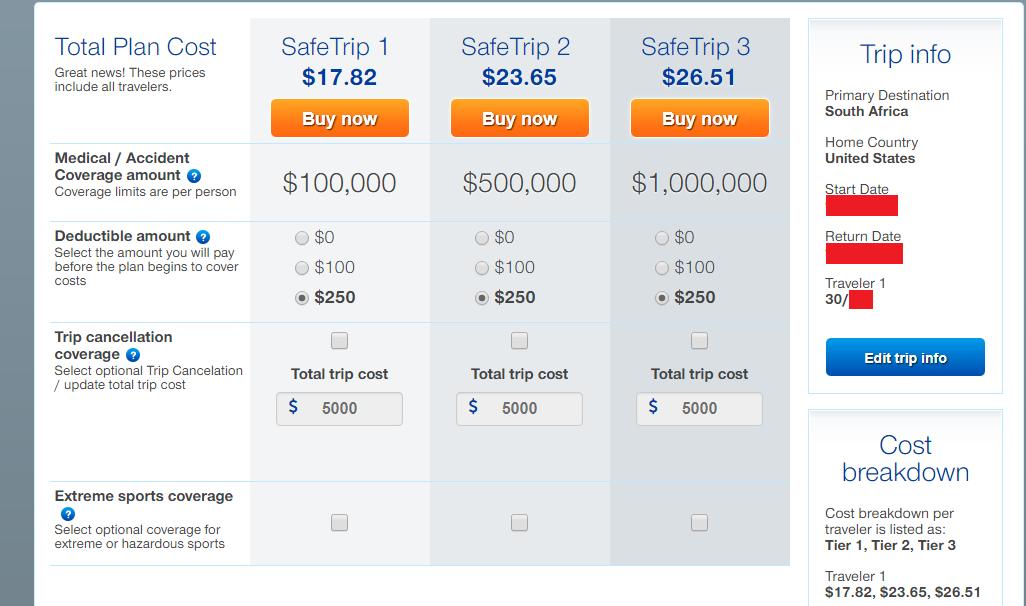 SafeTrip Travel Insurance Comparison with deducitbles, accident amount, trip cancellation coverage, etc.