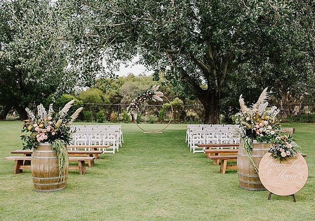 Spring is nearly upon us, which basically means it's wedding season and we could not be more excited! We can see this fresh, floral spring look (seen at @oldbroadwaterfarm) working beautifully at Bower with our cedar logs 🙌#aisledecor  Florals: @floralstate  Signage: @emmalouisedesign