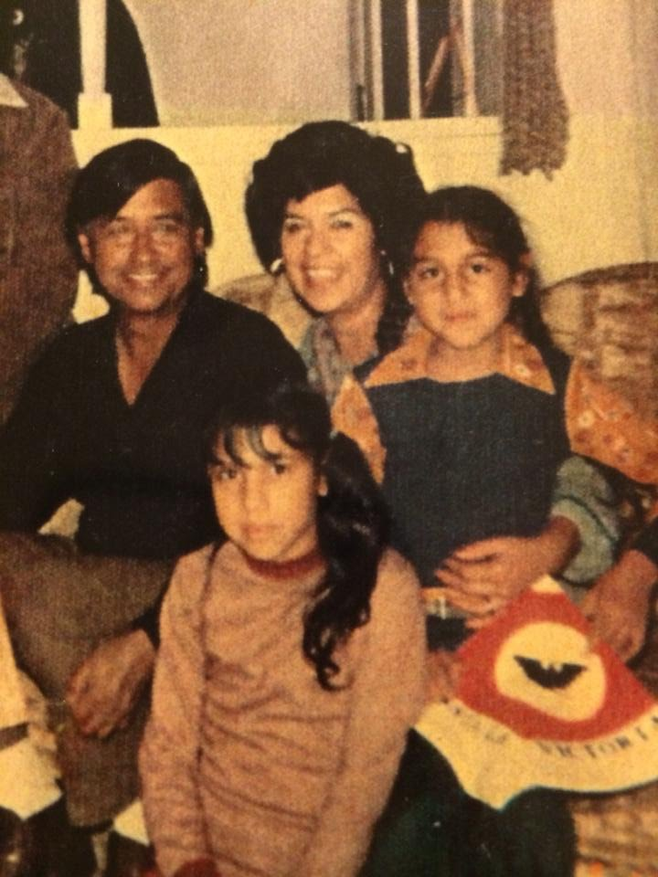 My Grandmother, mother and aunt with Cesar Chavez during a fundraiser they held in their home.