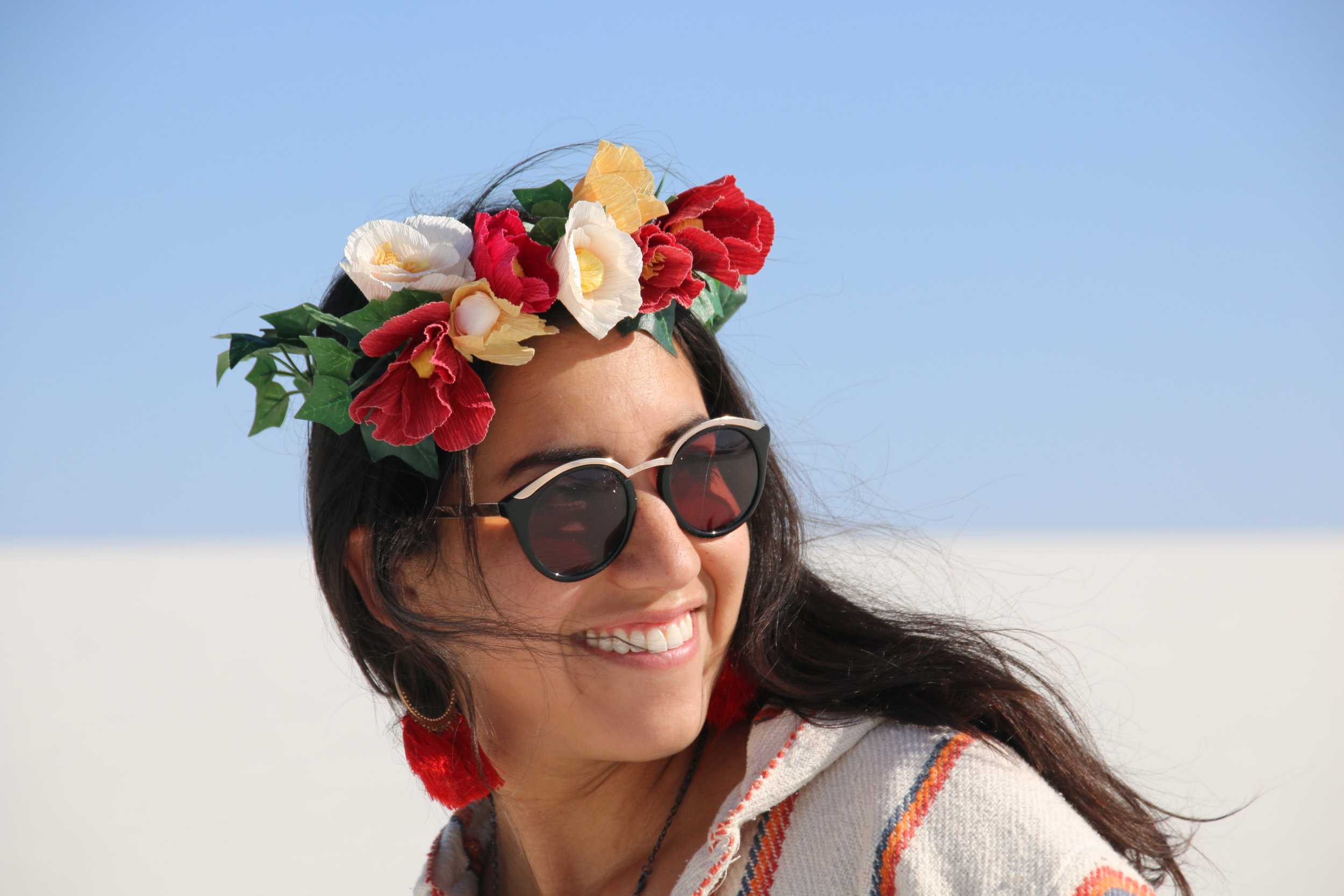 At White Sands National Monument with a flower crown I made!