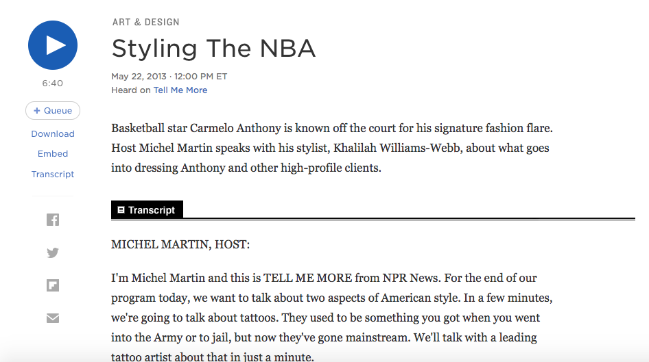 NPR: Styling the NBA