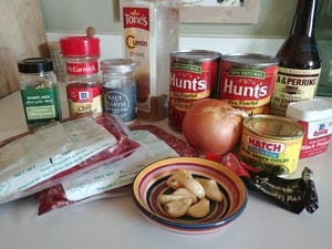 All the ingredients I used for 1 batch of chili