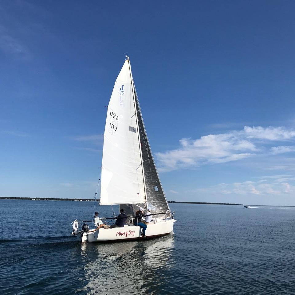 """MidBay Sailing Academy's J/80 """"Mud Bug"""".  Learn more about our boats"""
