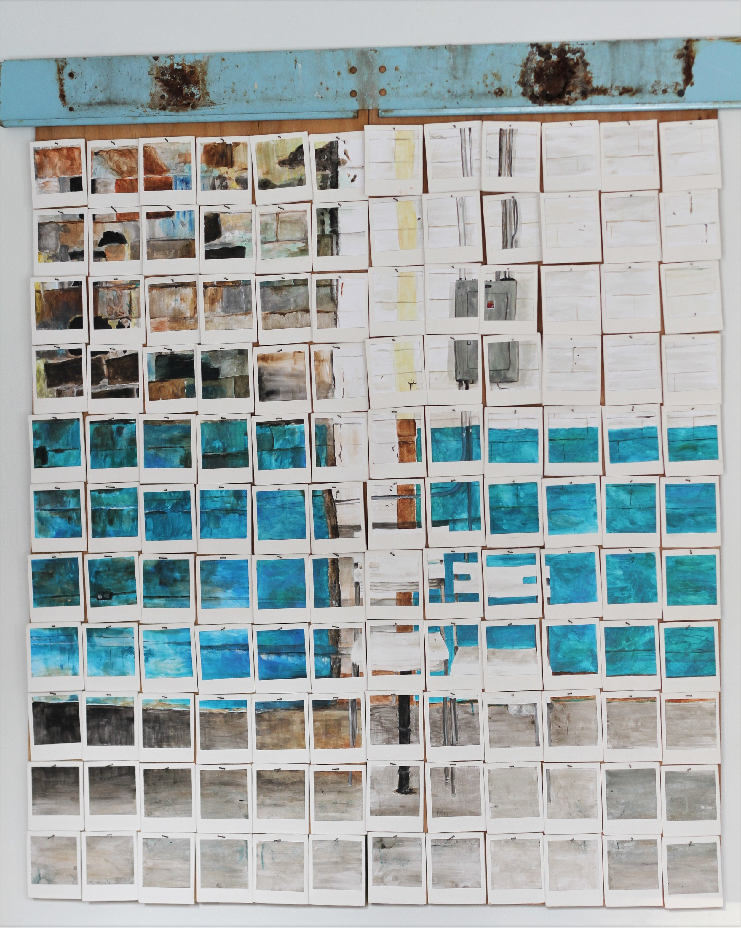 In Situ project: painted porcelain tiles, mixed media