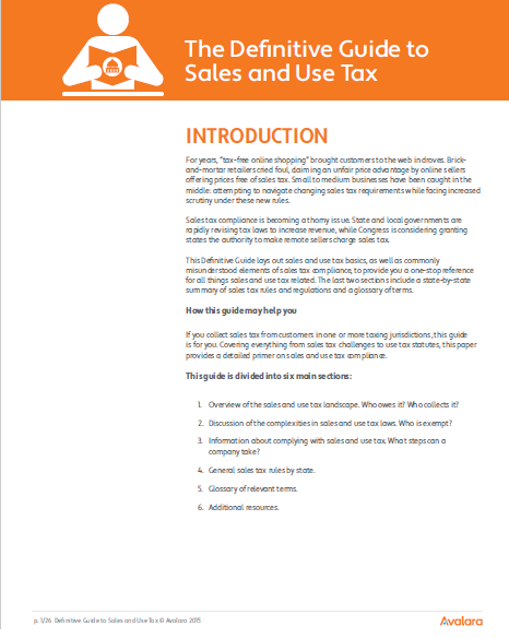 Avalara's guide to sales and use tax -