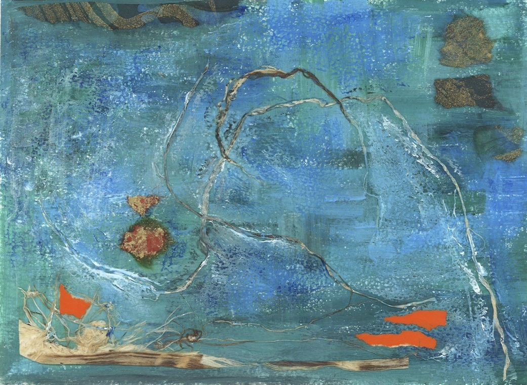 Boatman's Holiday  -  SOLD   Acrylic and Mixed Media on Paper  5 x 7 inches