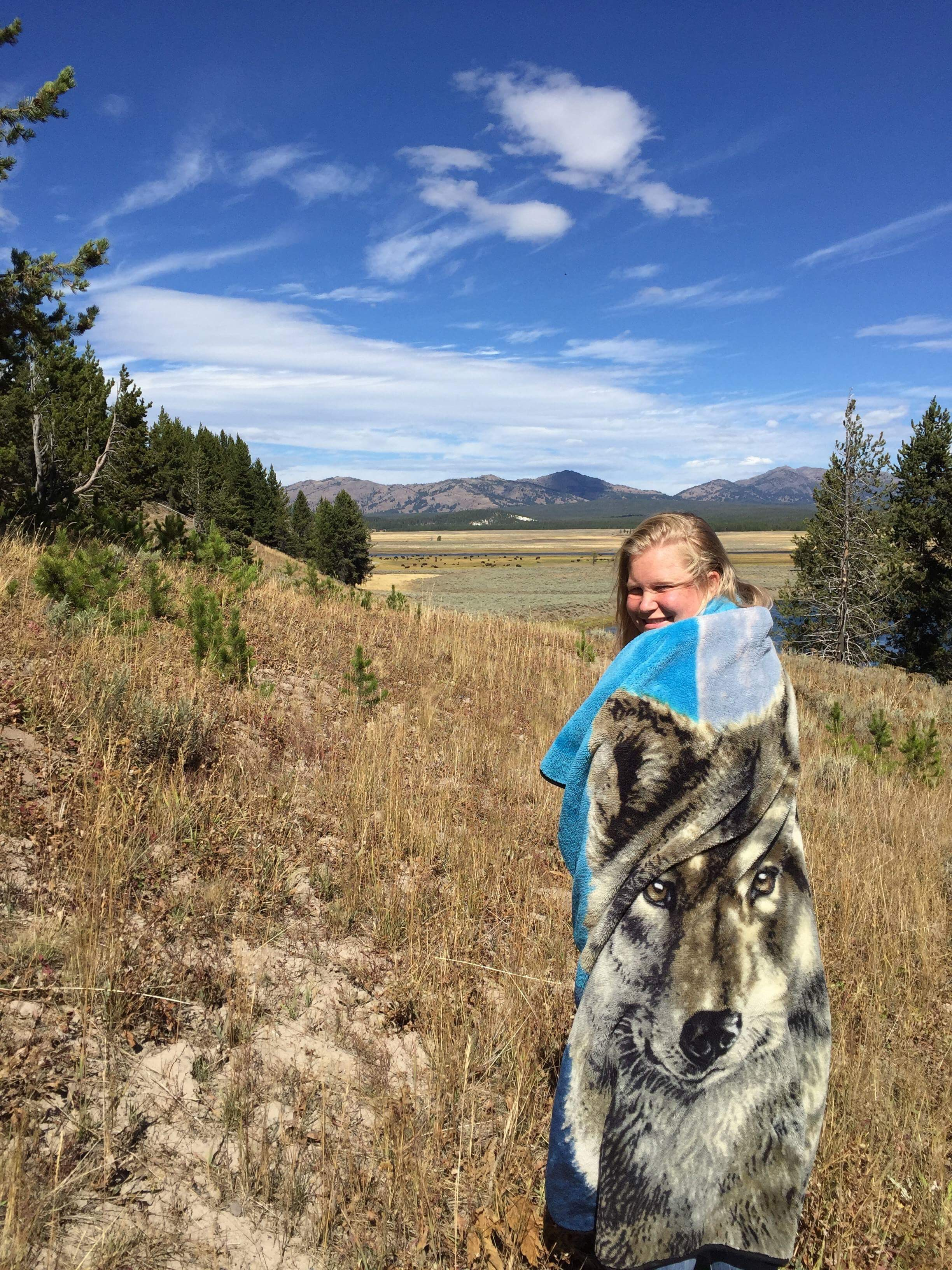 Wolf blanket and Anika
