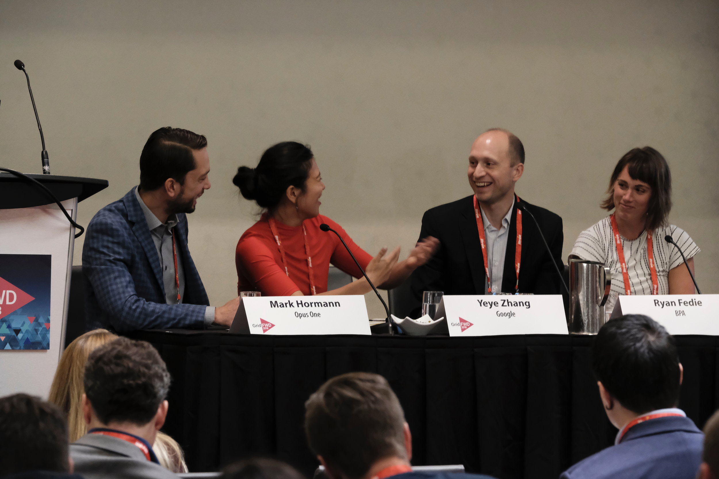 Panelists from the GridFWD 2018 event: Mark Hormann, Yeye Zhang, Ryan Fedie and Teague Douglas.